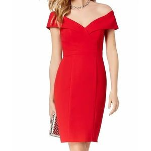 Xscape off the shoulder cherry red sheath dress